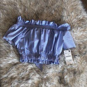 Blue white stripe women's crop top